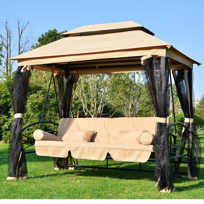 3 Person Patio Swing With Gazebo Top Cover