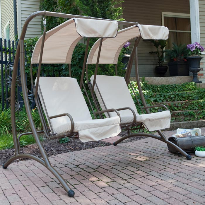 2 person patio swings with canopy