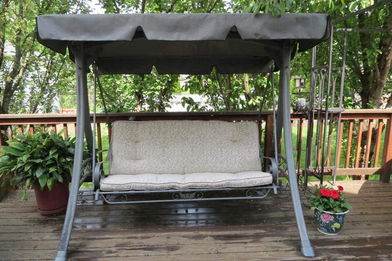 Patio swing replacement cushions and canopy