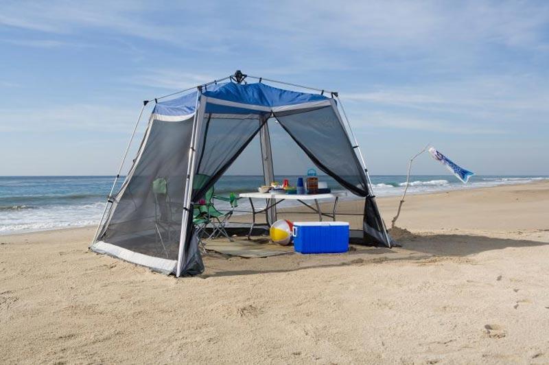 Camping gazebo with screen
