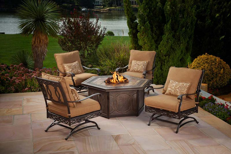 Agio fire pit patio set