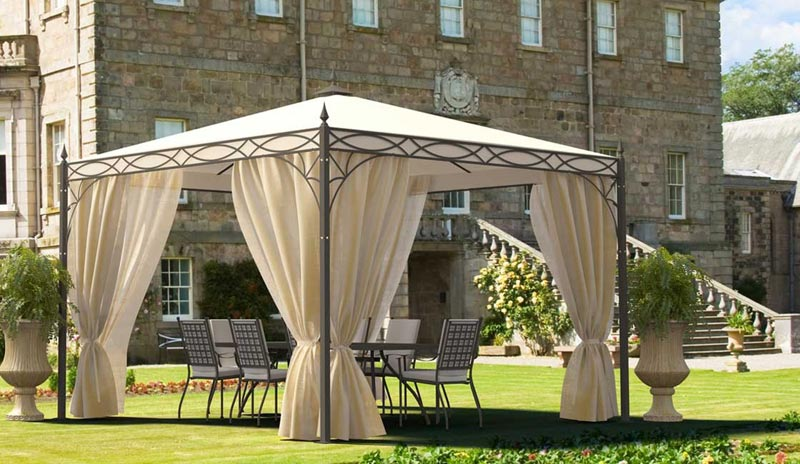 Gazebo with curtains