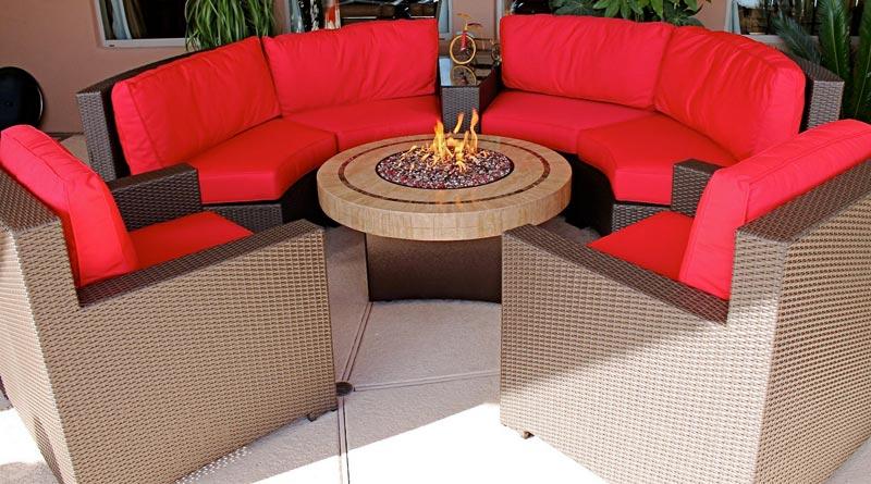 Propane fire pit patio sets