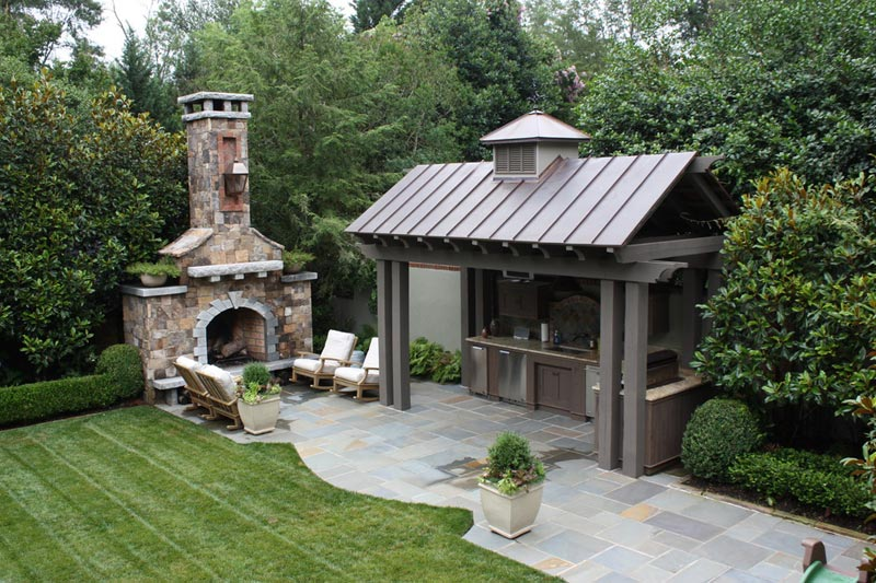 Patio fireplace and grill