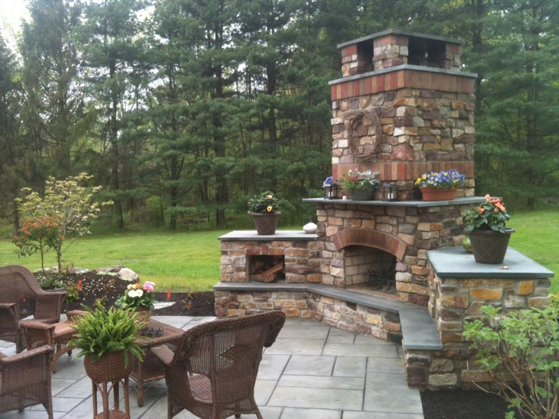 Patio fireplace and hearth