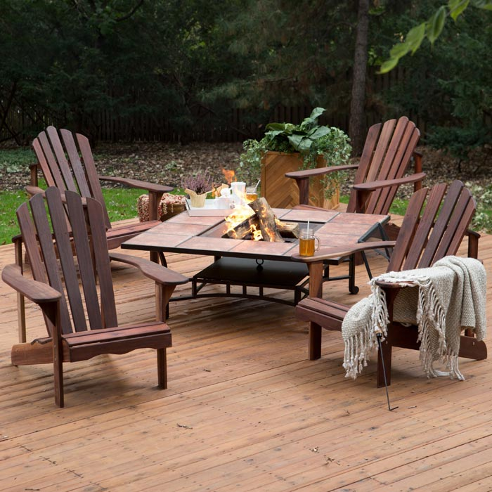 Patio table with firepit and chairs