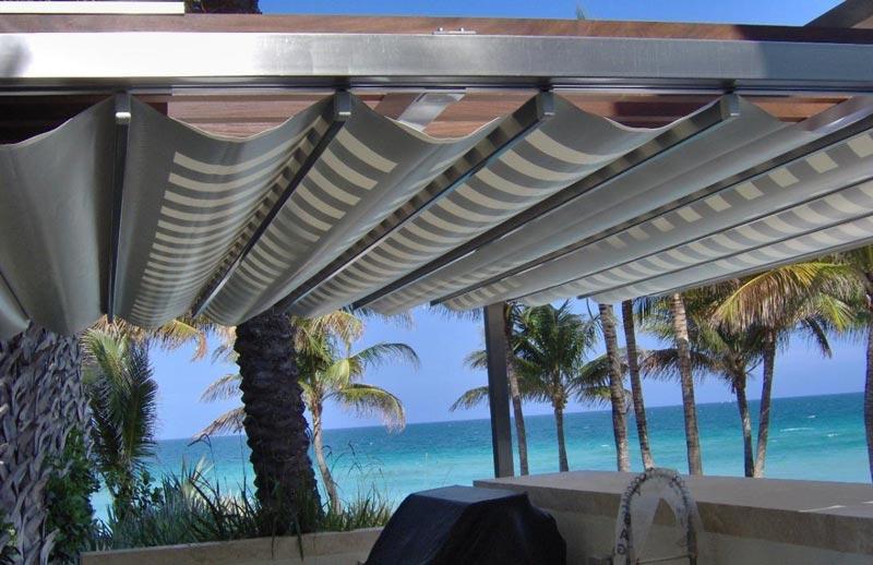 Pergola retractable roof systems