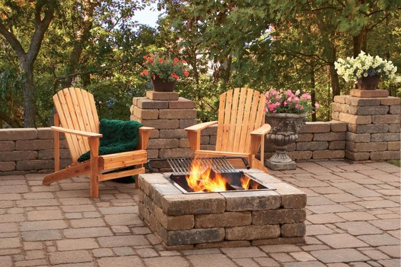 Square fire pit patio ideas