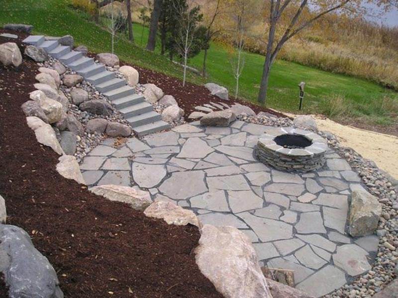 Stone patio designs fire pit