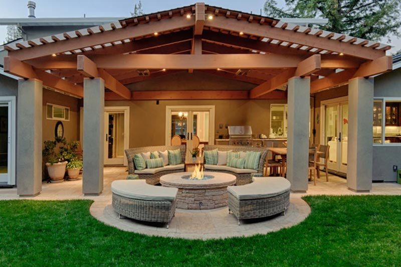 Covered patio fire pit ideas