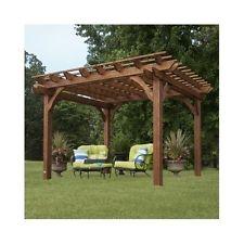 Garden Pergola Free Standing Outdoor Gazebo Wooden Wood Large 10 x 12 Cedar Kit