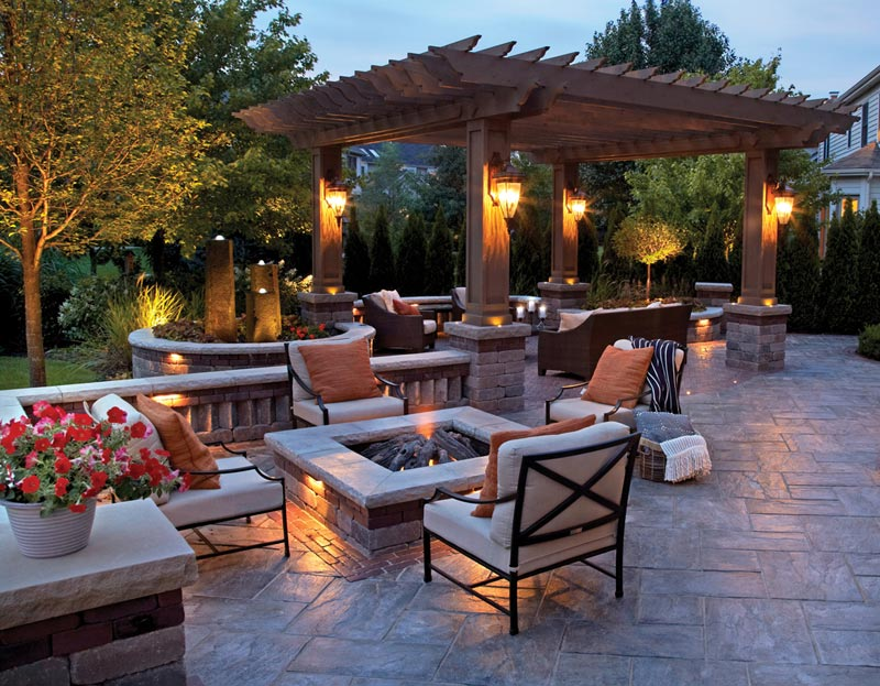 Backyard patio and fire pit designs