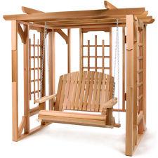 Cedar Pergola Swing Set Garden Yard Patio Area
