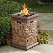 Gas Fire Column Patio Pit Bond Propane 29″ Faux Brick Finish Outdoor Garden Deco