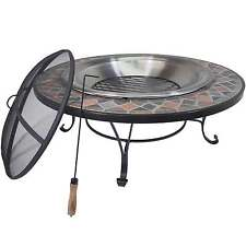 Titan 40″ Mosaic Slate Fire Pit Table Wood Burning Patio Deck Grill w/ Log Grate