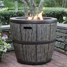 Wine Barrel 27″ Gas Fire Pit with Concrete Base & table top lip for outdoor