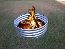 24 in Portable Galvanized Metal Round Fire Pit Ring Can Backyard Camping Firepit