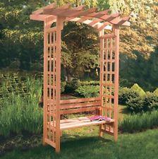 Garden Arbor Bench Pergola Modern Wooden Cedar Free Standing Backyard Decor