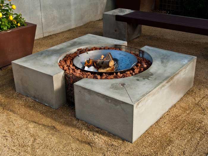 How to build a fire pit into a concrete patio
