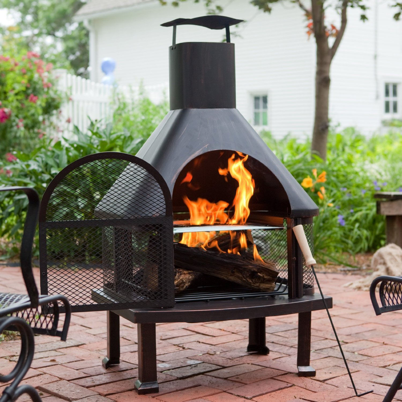 Astonishing Metal Chiminea Fire Pit | Garden Landscape on Outdoor Fireplace Pit id=47808