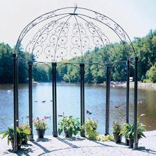 Achla Designs Euphony 7.5 x 5 ft. Wrought Iron Pavilion Gazebo, Black