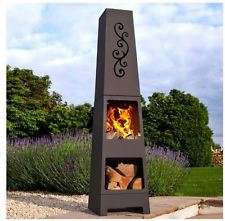 Outdoor Patio Fireplace Chiminea Fire Pit Heater Steel Wood Burning Log Holder