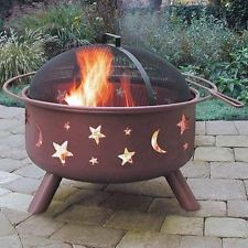 Big Sky Steel Fire Pit, Stars and Moons Georgia Clay chiminea outdoor fireplace