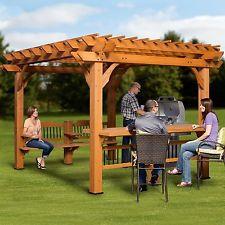 Modern Pergola Free Standing Garden Oasis Cedar Wooden Pergolas and Gazebos Kits