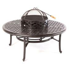 Nassau Cast Aluminum Patio Fire Pit 52″ Ice Tea Insert Round Table Bronze