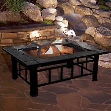 DIY Fire Pit Table Grate Grill Outdoor Patio Backyard Heater Wood Burning Cover