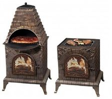 Cast Iron Outdoor Pizza Oven & Grill Chiminea Pool Patio Fireplace Fire Pit